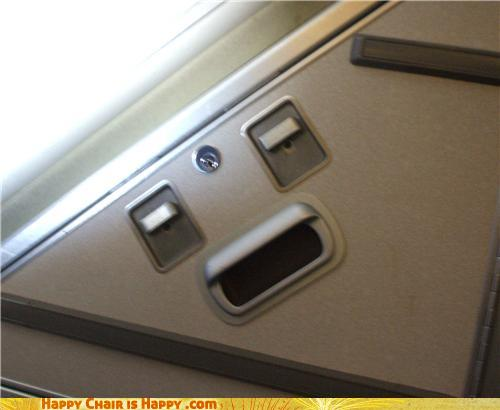 Objects With Faces - Airplane Compartment Is Bored On Long Flights