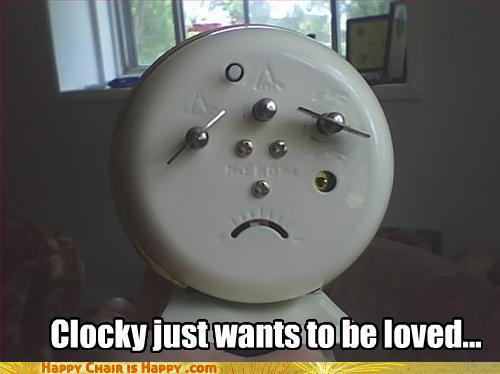 Objects With Faces-Clocky just wants to be loved...