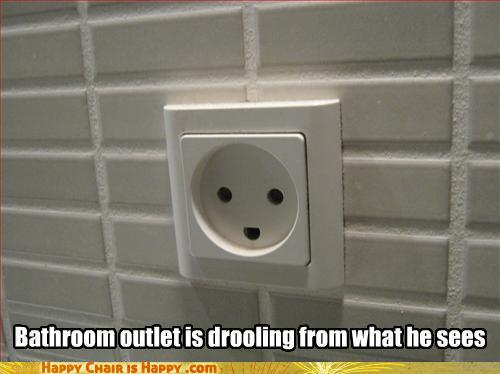 objects with faces-Bathroom outlet is drooling from what he sees