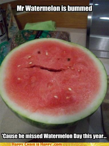 objects with faces-Mr Watermelon is bummed