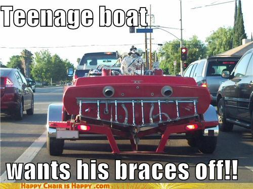 objects with faces-Teenage boat  wants his braces off!!