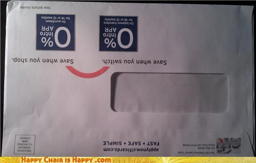objects with faces-Citi Bank Envelope Will Gladly Put You Into Debt