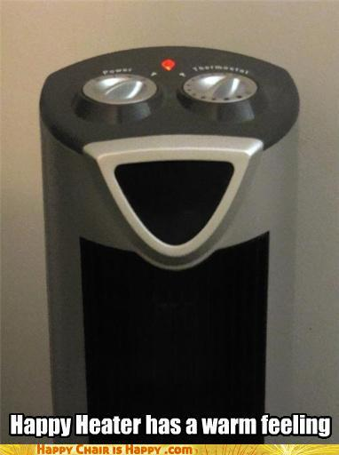 objects with faces-Happy Heater has a warm feeling
