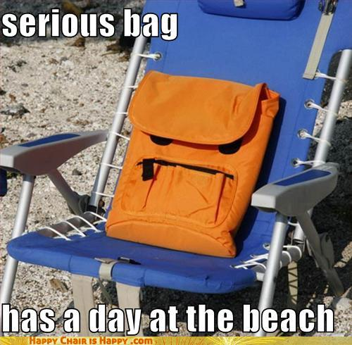 objects with faces-serious bag has a day at the beach
