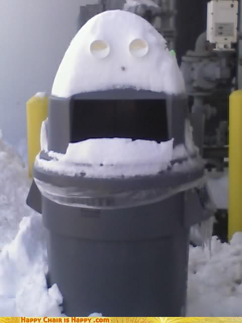 Objects With Faces-Snowman Can Thinks Your Aim Is Garbage
