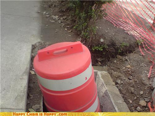 Objects With Faces-Shocked Cone Can't Believe how LOUD Jackhammers Are!