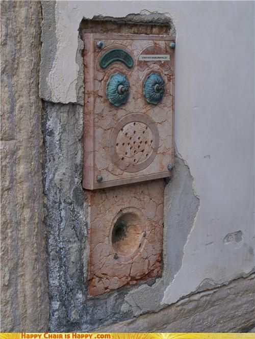 Objects With Faces-Scared Doorbell Hopes You'll Press Him Gently