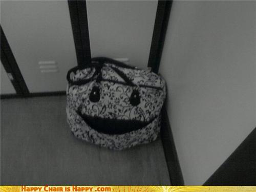 Objects With Faces-Happy Bag Is Happy You Came To Retrieve Her!