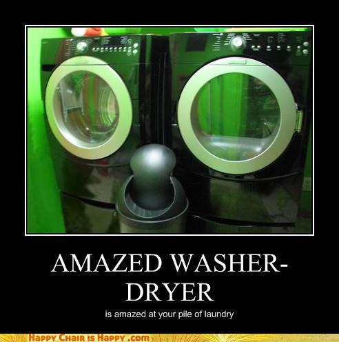 Objects With Faces-Amazed Washer-Dryer is Amazed at Your Pile of Laundry