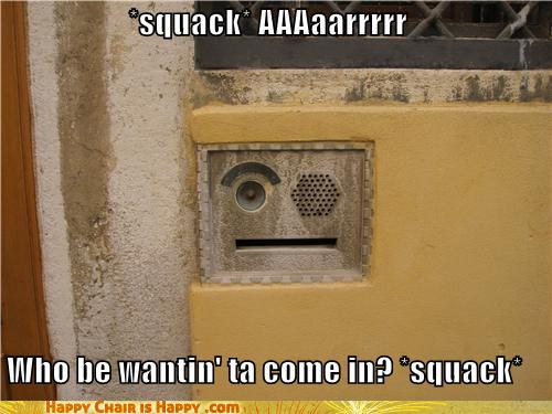 objects with faces-*squack* AAAaarrrrr  Who be wantin' ta come in? *squack*