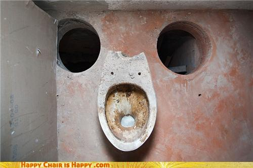 Objects With Faces-Aghast Toilet is Terrified of What is About to Happen