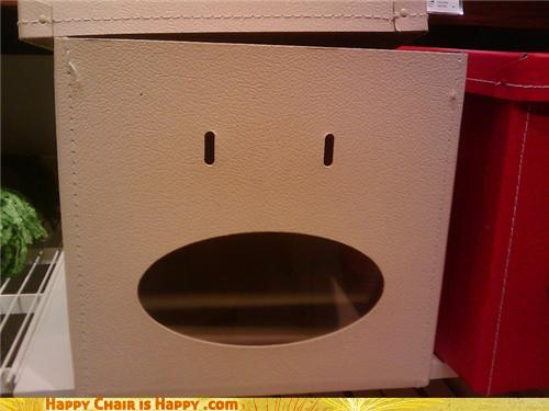 Objects With Faces-Startled Box HATES Your Taste In Literature