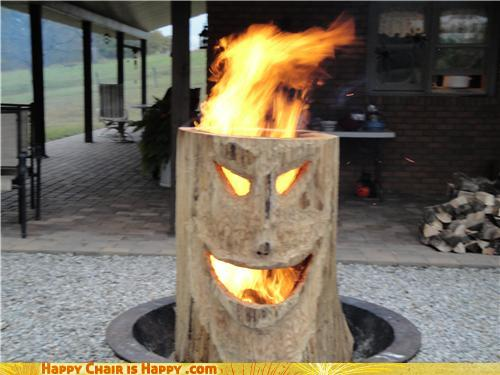 objects with faces-Flaming Stump is Burning With Anger