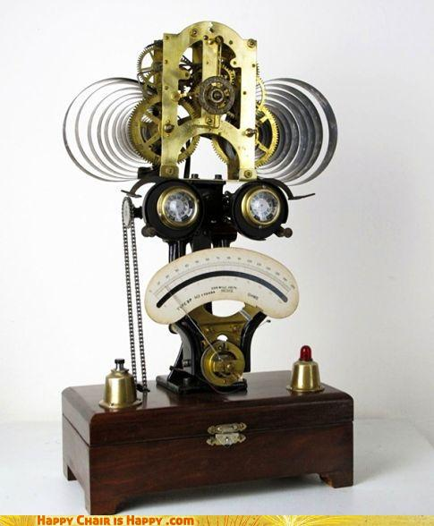 Objects With Faces-Sad Robot Clock of the 1800s