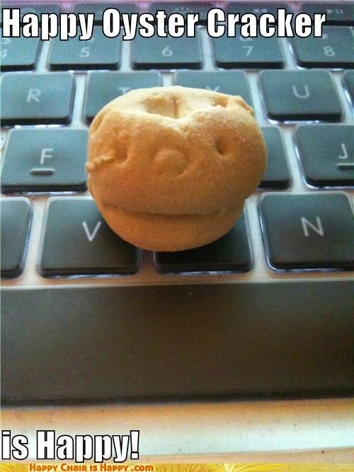 objects with faces-Happy Oyster Cracker is Happy!