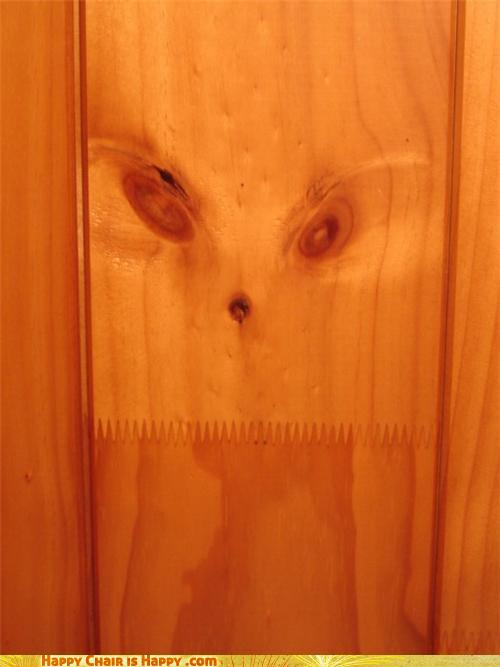 Objects With Faces-Wood Panelling Grinch is Gonna Steal Your Christmas SO HARD