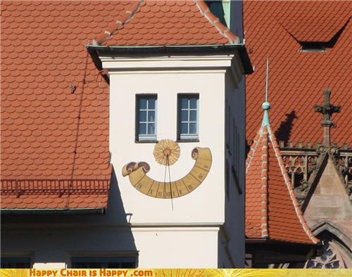 objects with faces-Happy Clock Building Will Happily Give You the Time of Day
