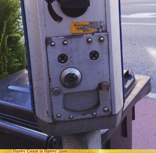 objects with faces-Happy Parking Meter is Glad You Brought Correct Change!