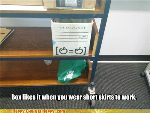 objects with faces-Box Likes It When You Wear Short Skirts at Work