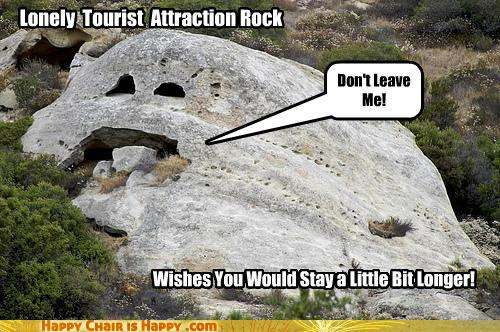 objects with faces-Lonely Tourist Attraction Rock Wishes You Would Stay a Little Bit Longer!