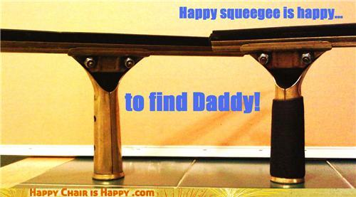 objects with faces-Happy Squeegee Enjoys a Family Reunion