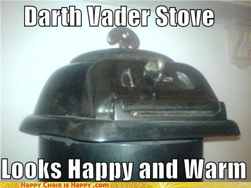 objects with faces-Darth Vader Stove Looks Happy and Warm