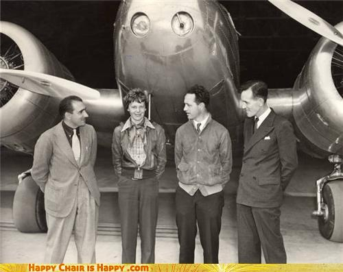 objects with faces-Happy Plane is SO EXCITED to Finally Meet Amelia Earhart!