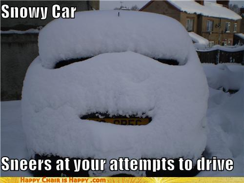objects with faces-Snowy Car Sneers At Your Attempts to Drive